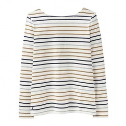 Joules Harbour Cream Multi Stripe Jersey Top | Joules Tops front