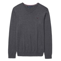 Crew Clothing Charcoal Marl Foxley V-Neck Jumper
