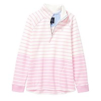 Crew Clothing Ladies White Linen/Classic Pink 1/2 Zip Sweatshirt