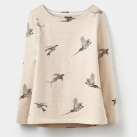 Joules Harbour Print Oat Marl Birds Jersey Top