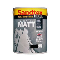 Sandtex Fine Textured Matt Black 5 Litre