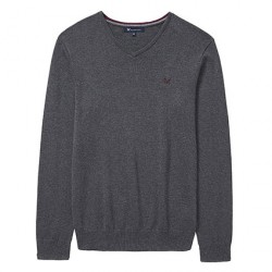 Crew Clothing Charcoal Marl Foxley V-Neck Jumper | Crew Clothing