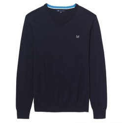 Crew Clothing Navy Foxley V-Neck Jumper