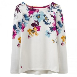 Joules Creme Posy Harbour Print Jersey Top | Joules Tops