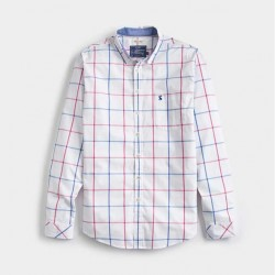 Joules Welford Classic Fit Deep Raspberry Over Check Shirt