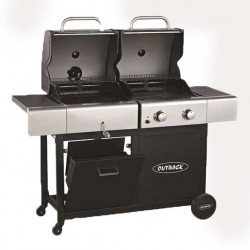 Outback Combi Hooded 2 Burner Gas and Charcoal Barbecue
