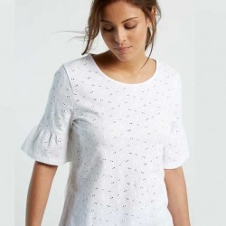 White Stuff Emily Broiderie Jersey Tee