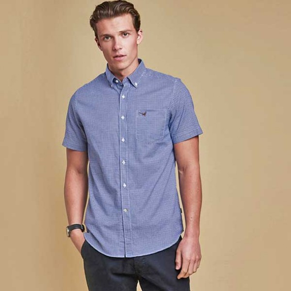 Barbour Clifton Short Sleeved Tailored Fit Navy Shirt