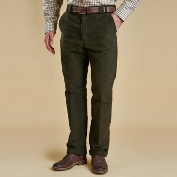 Barbour Olive Tradtional Fit Moleskin Trousers
