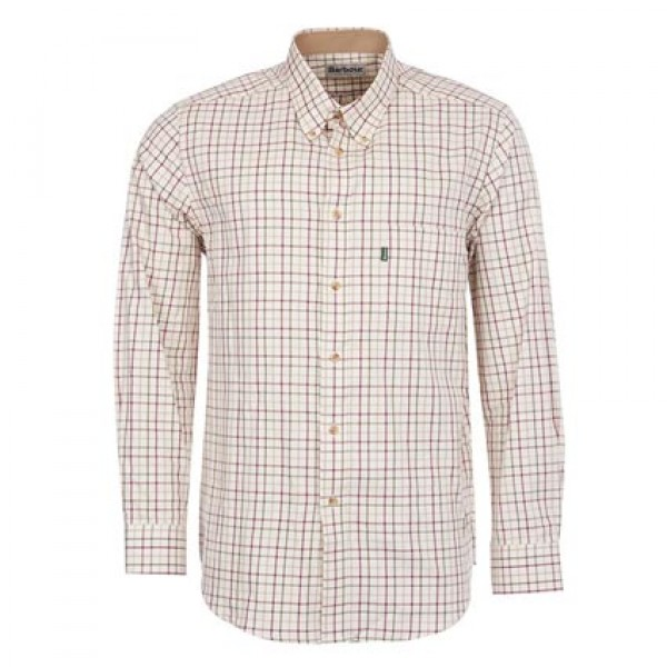 Barbour Red/Khaki Sporting Tattersall Shirt | Barbour Button Shirts