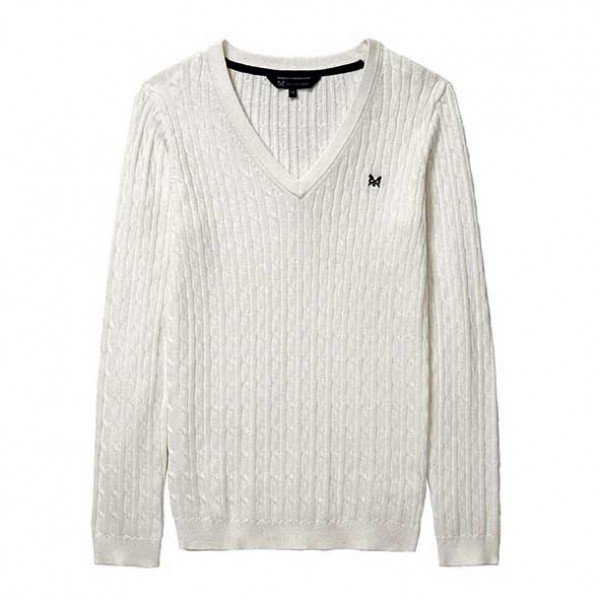 Crew Clothing Ladies Heritage Cable V Neck Jumper