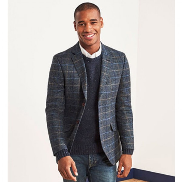 Crew Clothing Navy Check Herringbone Wool Blazer