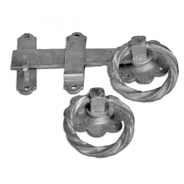 Twisted Handle Galvanised ring gate latch