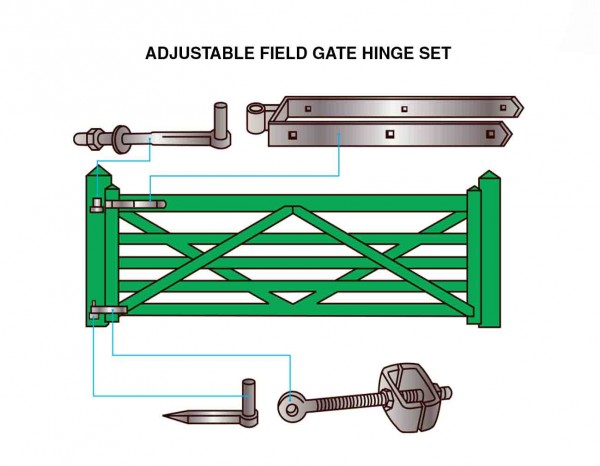 Field Entrance Timber Diamond Braced Gate Hinge Set