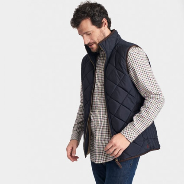 Joules Mens Bradwell Marine Navy Quilted Gilet | Joules Vests