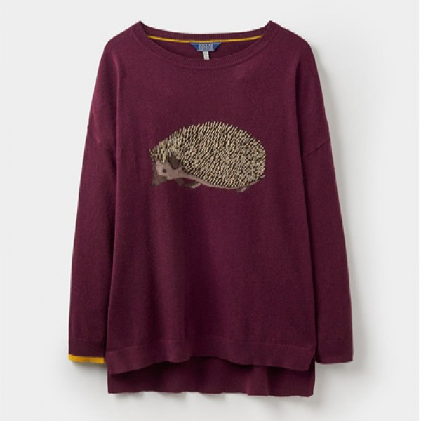 Joules | Clothing - Coats - Joules Burgundy Meryl Luxe Intarsia Jumper