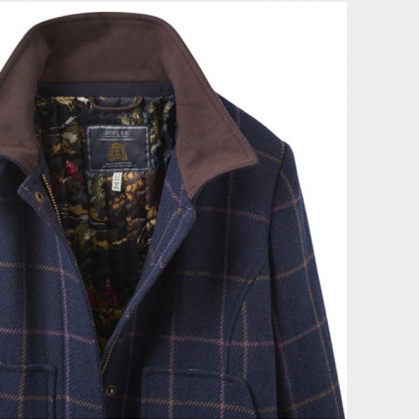 Joules Navy Check Tweed Field Coat | Joules Jackets