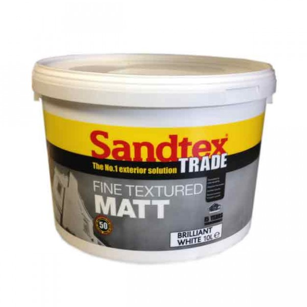 Sandtex Fine Textured Matt Brilliant White 10 Litre