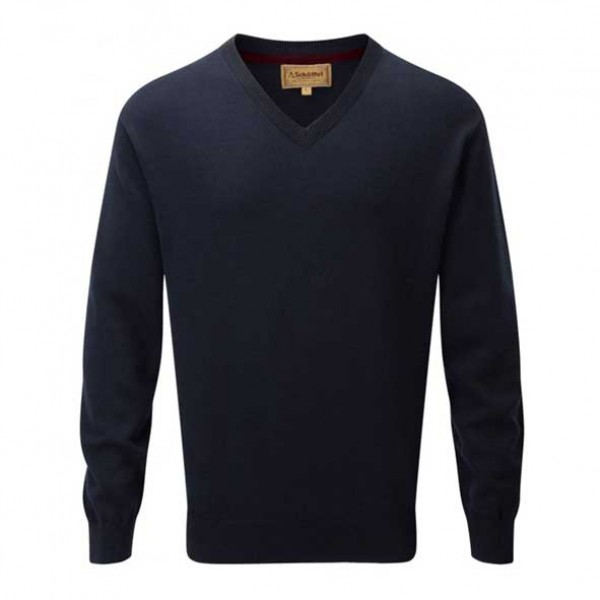 Schoffel Cotton Cashmere V Neck Jumper Navy