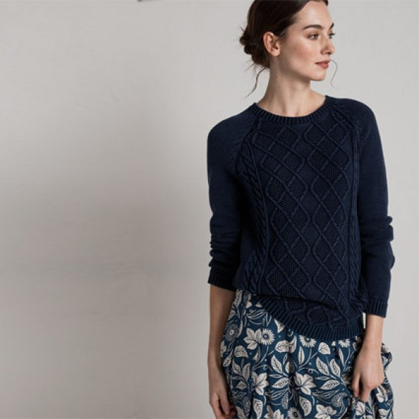 Seasalt Cable Knit Indigo Dye Offshore Jumper | Seasalt Sweatshirts