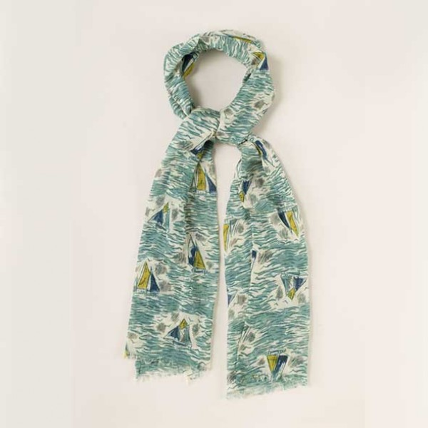 SeaSalt Pretty Printed Painted Boats Scarf