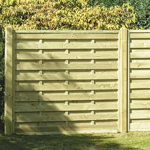 Slatted Square Horizontal Garden Fence Panel