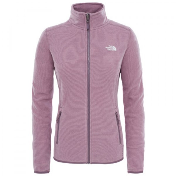 The North Face Ladies Black Plum Stripe 100 Glacier Full Zip Fleece