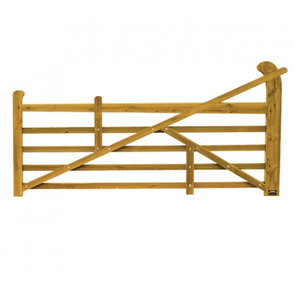 3000mm raised helve field gate in softwood timber