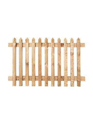 Picket Paled Fence Panel Sawn Softwood Brown  1200mm H x 1800mm W