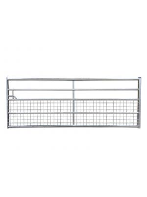 Half Meshed 5 Rail 3660mm Galvinised Metal Gate